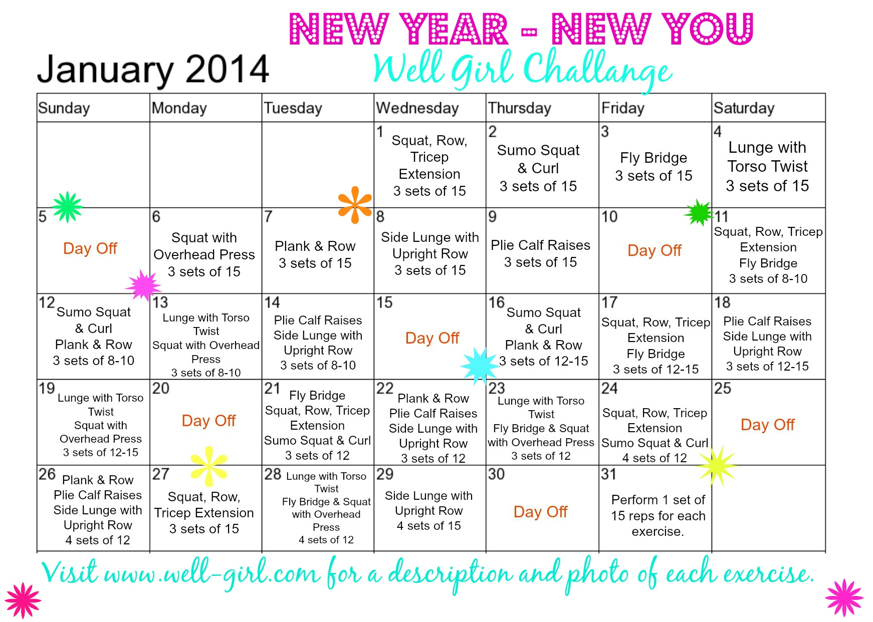 AB Challenge January 2014 Calendar